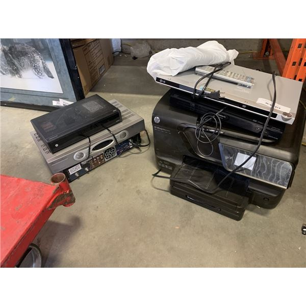 2 DVD PLAYERS, HP OFFICE JET PRO PRINTER AND 3 MOTOROLA DIGITAL BOXES