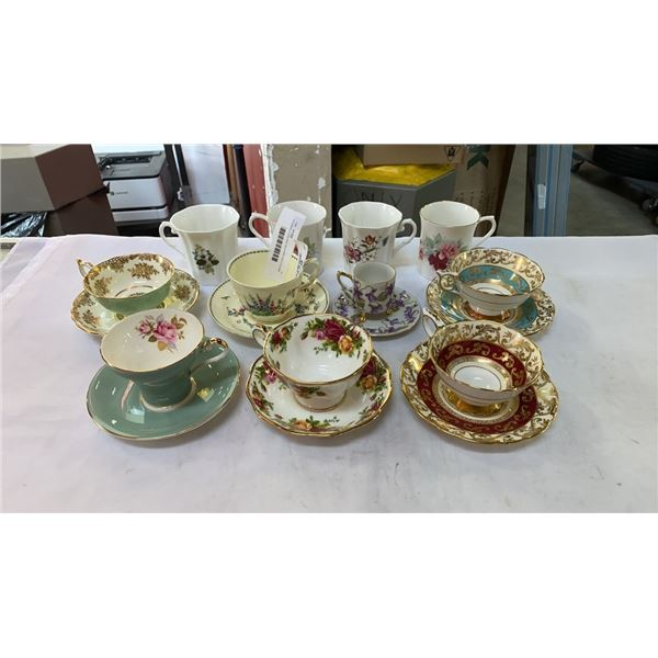 6 CHINA CUPS AND SAUCERS AND 4 CHINA MUGS