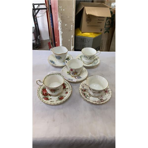 5 CHINA CUPS AND SAUCERS - WINDSOR, ROYAL STANDARD AND OTHER