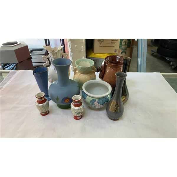 LOT OF VASES - METAL, HAND PAINTED, ETC