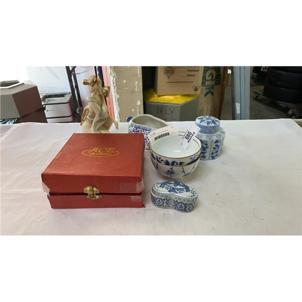 LOT OF BLUE AND WHITE ORIENTAL DISHES, ACE GIFT MINI TEA SET, AND LADY FIGURE