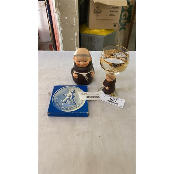 GOEBEL FRIAR DISH, FRIAR CUP AND MIN COLLECTOR PLATE