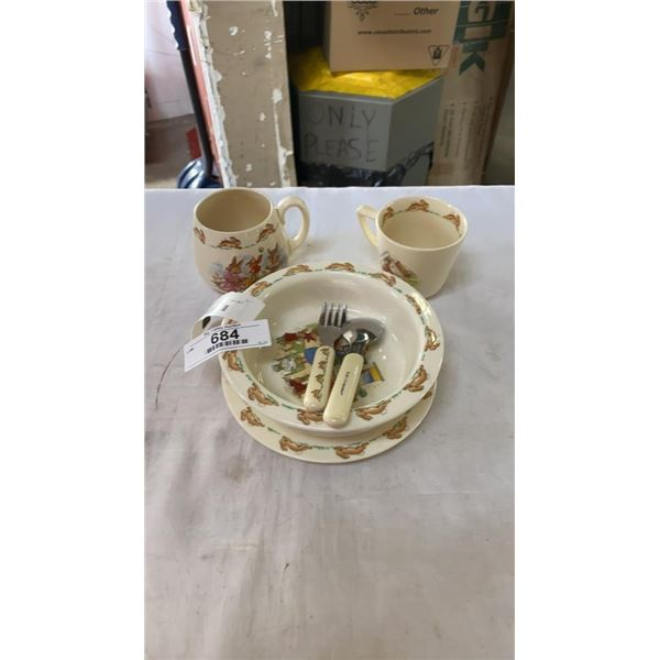 BUNNYKINS 4 PIECE NURSERY WARE SET WITH FORK AND SPOON