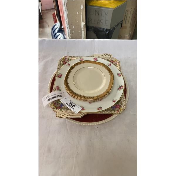 LOT OF CHINA PLATES AND PLATTERS, ROYAL TUNSTALL, DOULTON, ROYAL IVORY AND OTHER