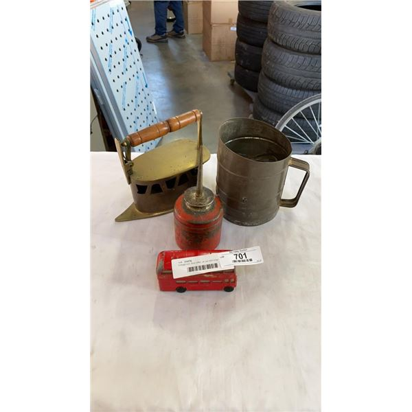 Vintage iron, flour sifter, oil can and corgi bus