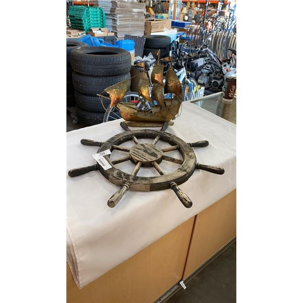 VINTAGE SHIPS WHEEL AND BRASS SHIP FIGURE
