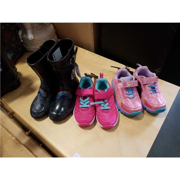 Two as new pair of girls size 11 shoes and size 12 rubber boots