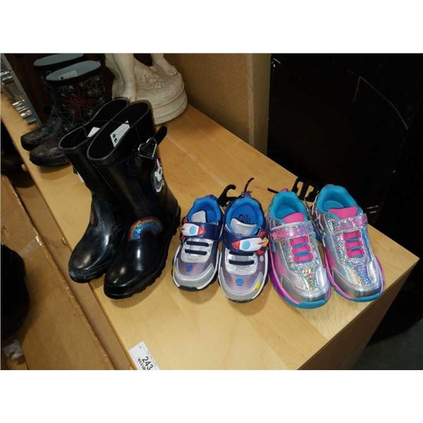 As New girls size 12 boys size 9 shoes and size 2 rubber boots