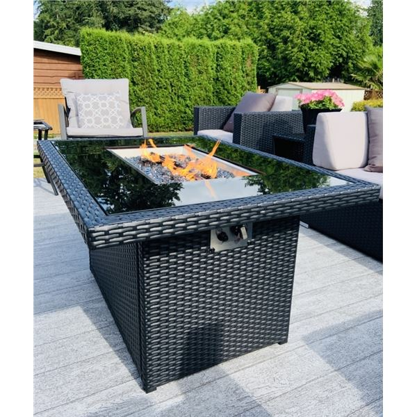 BRAND NEW RATTAN AND GLASS TOP FIRE TABLE RETAIL $1269, POWDER COATED ALUMINUM FRAME, 55,000 BTU, CS
