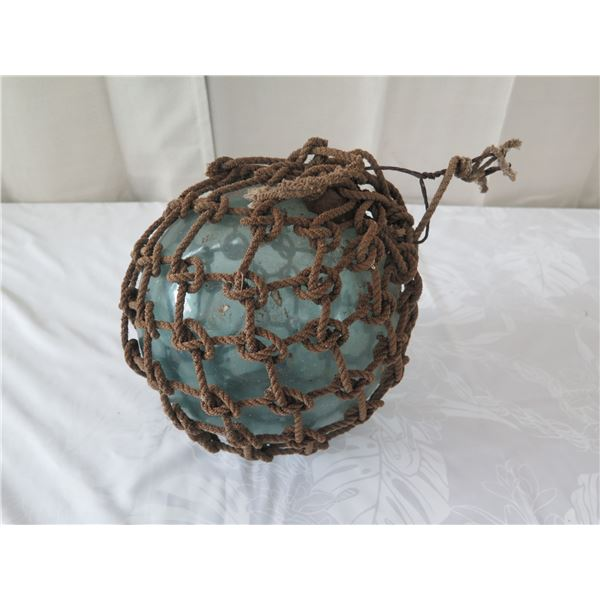 """Vintage Glass Ball Float w/ Net, Approx. 8"""" Dia."""
