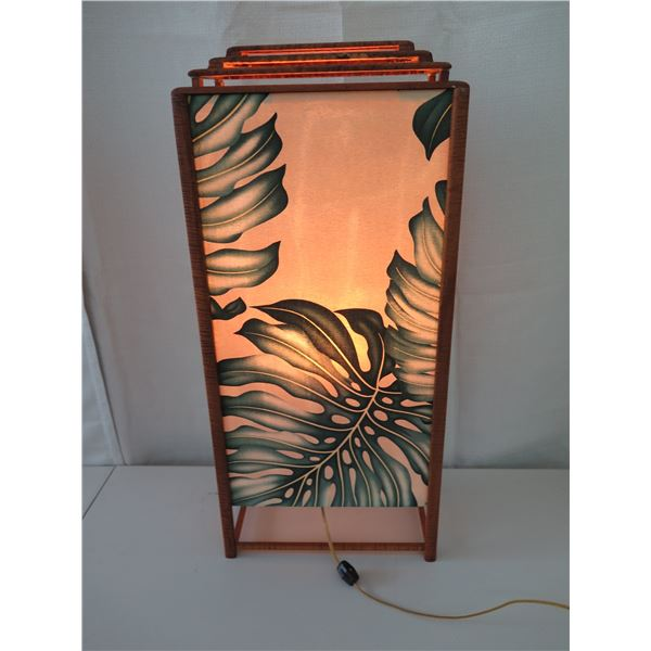 "Vintage Koa Lamp w/ Monstera Leaf Accents, 28"" Height"