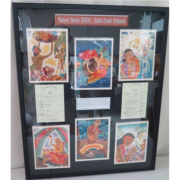 """Qty 6 Original 1930s Matson Menus, Artist Frank McIntosh, Framed, Complete Set, 34"""" x 42"""" Frame"""