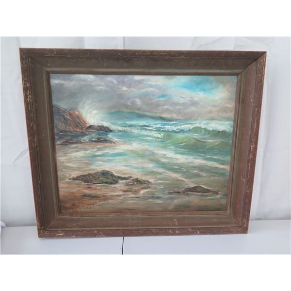 """Original Painting on Canvas, Signed by Artist Shirley Russell, 1971, 24""""x30"""" (Framed 30""""x36"""")"""