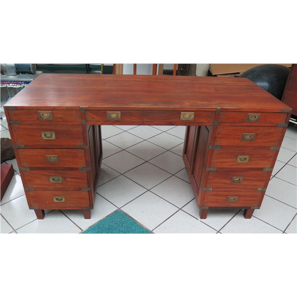 """Wooden Desk with Inlaid Brass Filigree & Hardware, 59"""" x  29"""" x 31"""" H (cosmetic age blemishes)"""