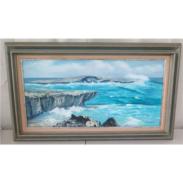 """Framed Original Painting, 1983, Signed by Artist Joseph Pimental of Laie Point 22"""" x 37"""""""