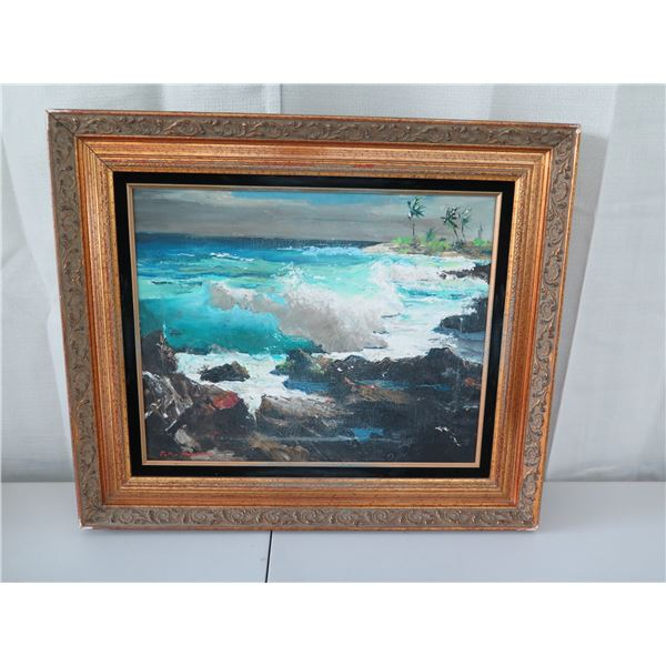 Framed Original Painting, Signed by Artist Peter Hayward, (Framed 23x27), some damage as shown in pi