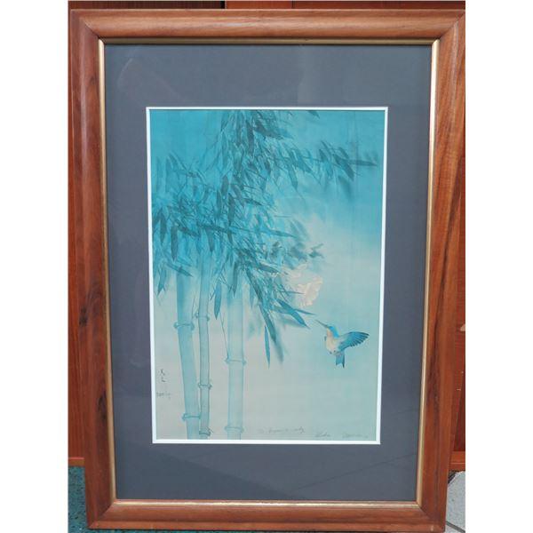 "David Lee Print in Koa Frame, Signed on Print, 1979, 30.5"" x 32"" Dedicated to Bryan and Cindy"