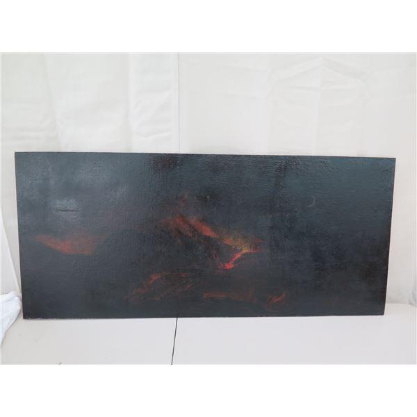 "Oil on Board, Vintage Volcano School Work, 22""x50"" (cosmetic damage)"