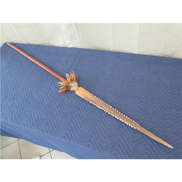 "Spear w/ Swordfish Bill & Shark 's Teeth, 65"" Long"