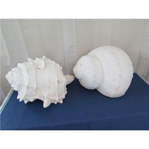 "Qty 2 Large Seashells, Plaster-Like Material 30"" L x 21""H"