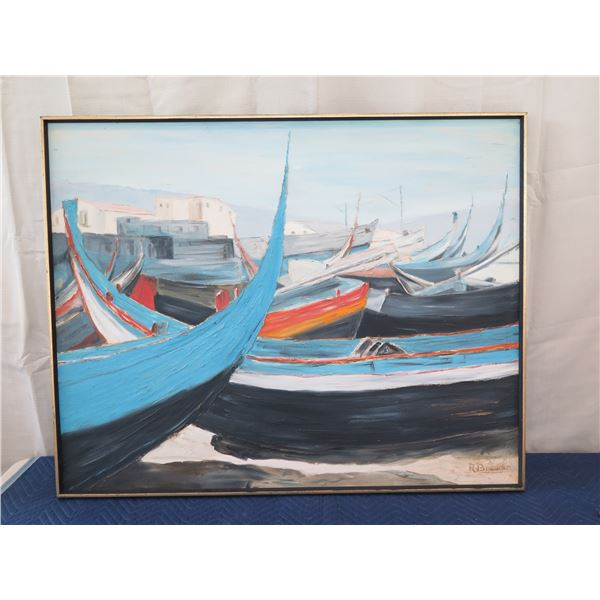 """Original Painting on Canvas, Nazaire """"Portugal"""" by Hawaii Artist R. Brower 39""""x49"""" (was a prop in"""