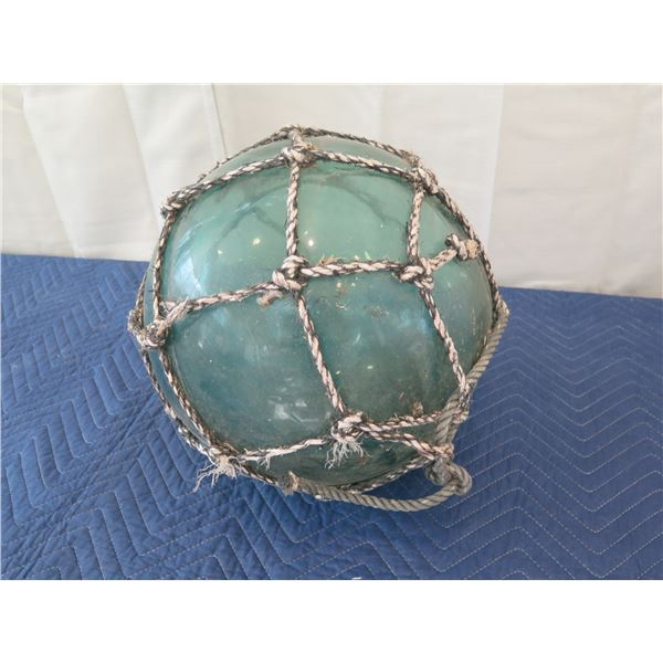 """Large Vintage Glass Ball Float w/ Net, Approx. 15"""" Dia."""