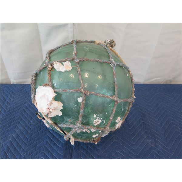 """Large Vintage Glass Ball Float w/ Net & Barnacles, Approx. 15"""" Dia."""