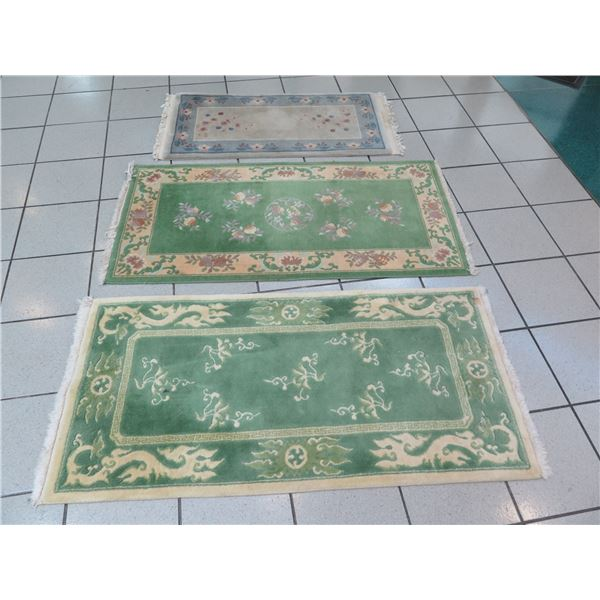 Qty 3 Accent Rugs (Larger Ones 54x28, Smaller One 46x22)
