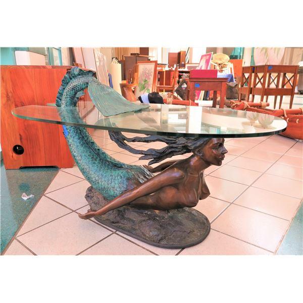 "Bronze Mermaid Coffee Table w/ Glass Top, 25""W, 50"" Long"