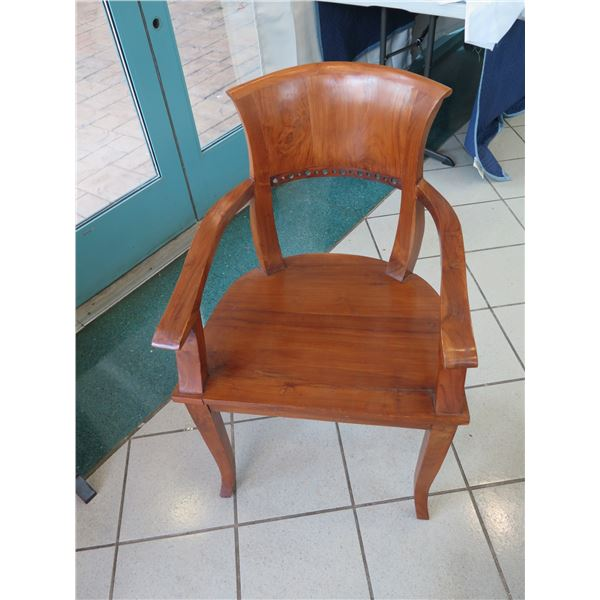 "Wooden Barrel-Back Armchair, 36"" Back Height"