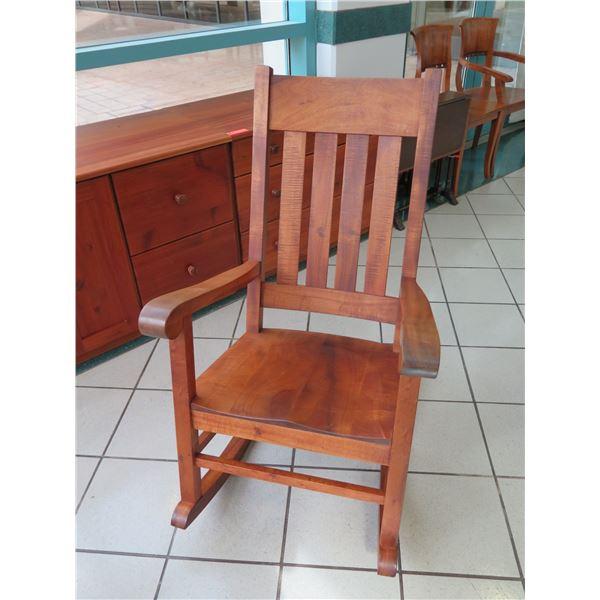 "Martin & MacArthur Koa Rocking Chair, Signed, 1982 (Back Ht. 42"")"