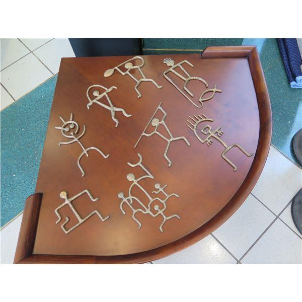 Qty 8 Brass Hawaiian Petroglyph Art Pieces