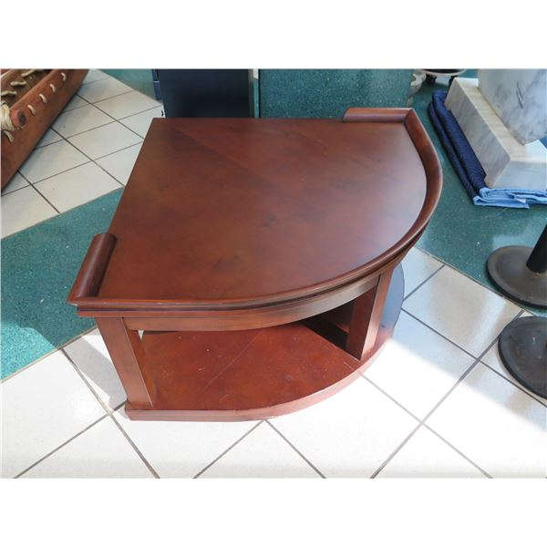 """Wooden Corner Table on Wheels (Pie Shaped,) 36"""" From Middle Edge to Corner"""