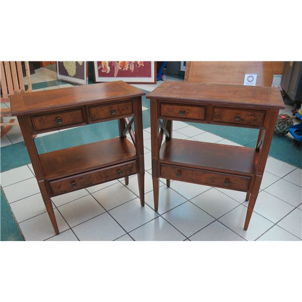 """Pair of Burl Wood Side Tables 30.5"""" 16"""" x 36.5""""H"""