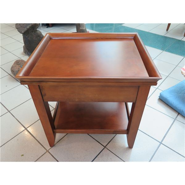 """Wooden Side Table w/ Raised Edge 23"""" x 27"""" x 26""""H"""