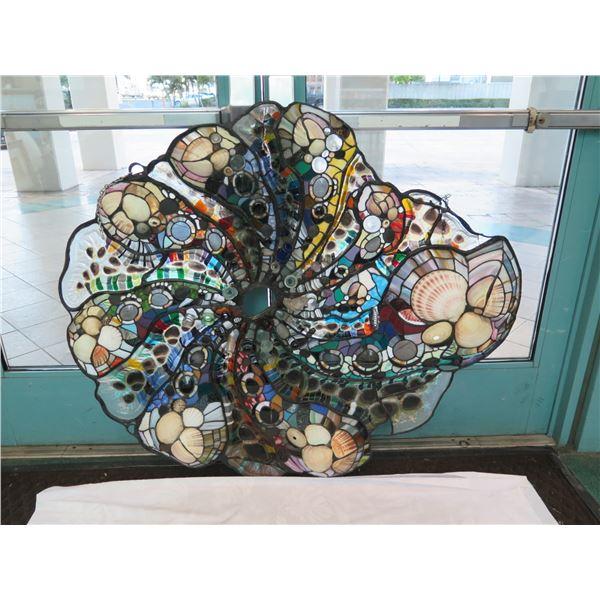 "Stained Glass ""Cornucopia"" Wall Sculpture w/ Shells, Bottle Tops, Artist Daniel Tarr, 42""x50"""