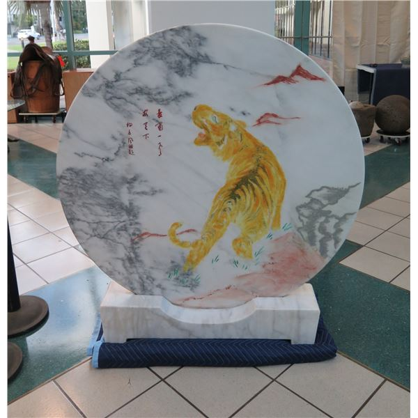 """Large, Round Painted Marble, Asian Tiger Motif, Carved Marble Display Mount 48"""" Dia, 52""""H"""