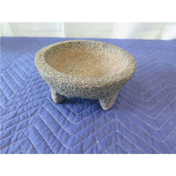 "Stone Mortar and Pestle 7.5"" Dia, 4"" H (pestle shown in last photo)"
