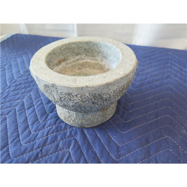 "Stone Mortar & Pestle 7.5"" Dia, 4"" H (pestle shown in 3rd photo)"