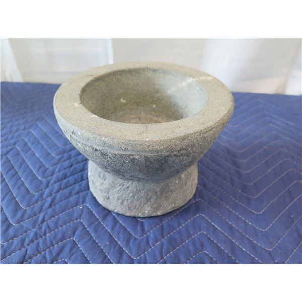 "Stone Mortar & Pestle 8"" Dia, 5""H (last photo shows pestle)"