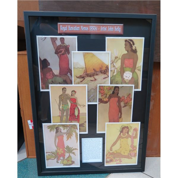 "Royal Hawaiian Menus Display, 7 John Kelly 1950s Originals, Complete Set, Frame 44.5""x32"")"