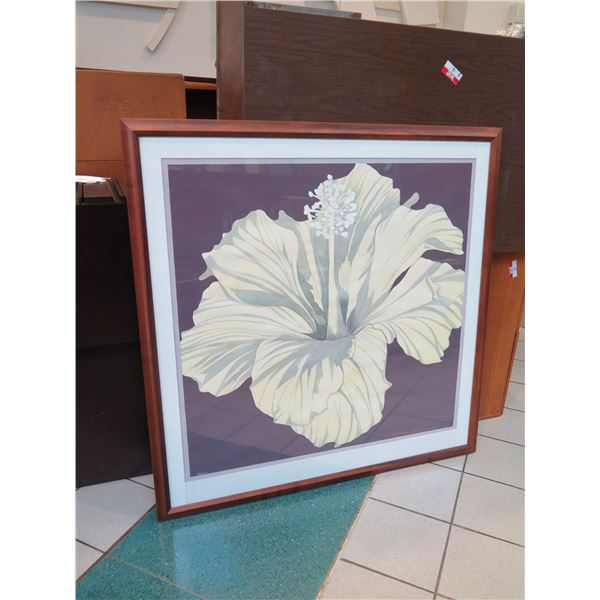 """Very Large Original Watercolor """"Hibiscus"""" Signed, Russell Lowery, Koa Frame 50""""x50"""""""