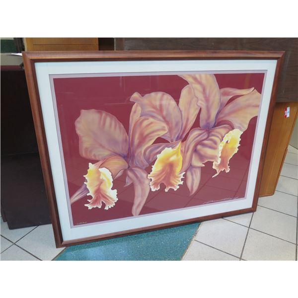 "Very Large Original Watercolor ""Cattleya"" Signed, Russell Lowery, Koa Frame 46""x57"""