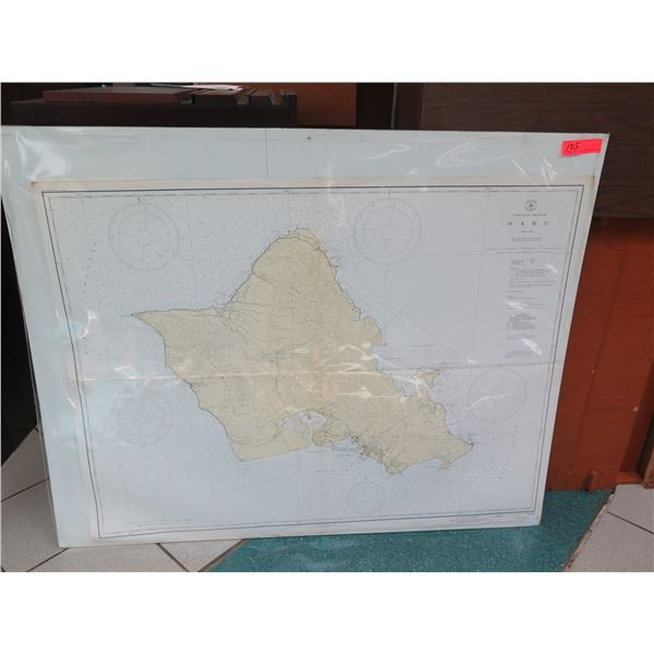 """Vintage WWII Era 1941 Oahu Map, Stamped """"Restricted"""" (poster board not included)"""