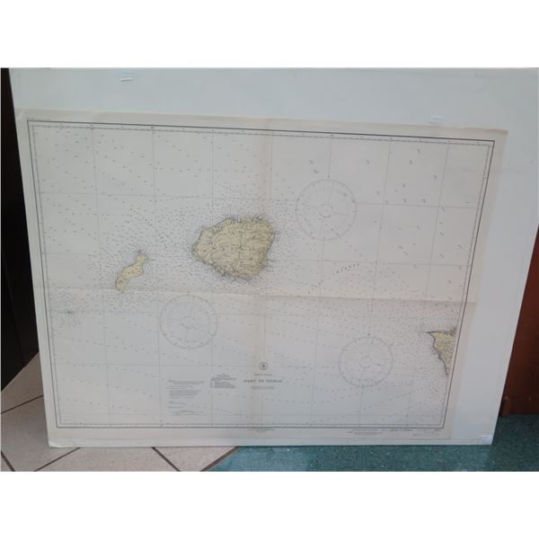 """Vintage WWII Era 1939 Oahu to Niihau Map, Stamped """"Restricted"""" (poster board not included)"""
