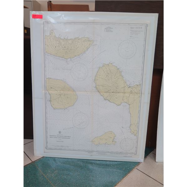 """Vintage WWII Era 1938 Molokai Channel Map, Stamped """"Restricted"""" (poster board not included)"""