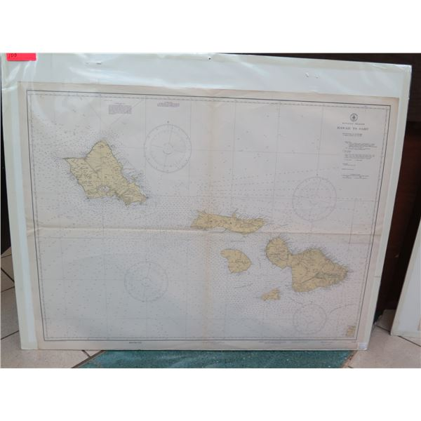 """Vintage WWII Era 1939 Oahu to Maui Map, Stamped """"Restricted"""" (poster board not included)"""