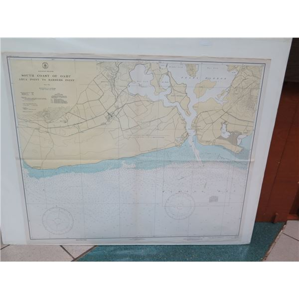 Vintage WWII Era Map, South Coast of Oahu, Stamped 1943  (poster board not included)