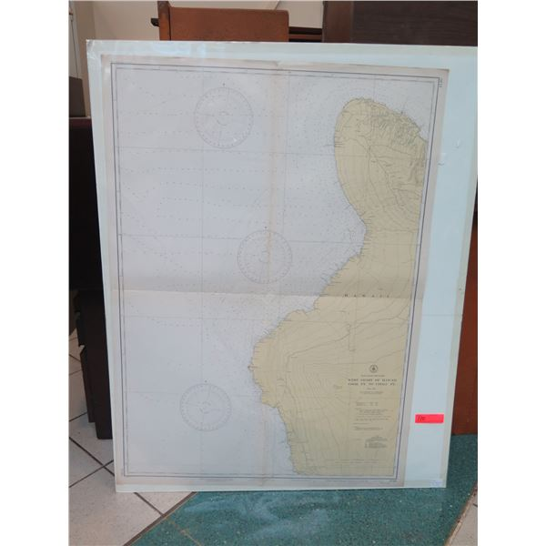 """Vintage WWII Era 1942 West Coast of Hawaii Map, Stamped """"Restricted"""" (poster board not included)"""