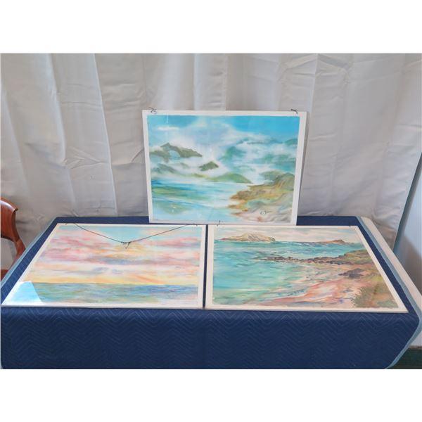 "Qty 5 Original Watercolor, Signed by Artist Elizabeth Zinn, 22"" x 30"""